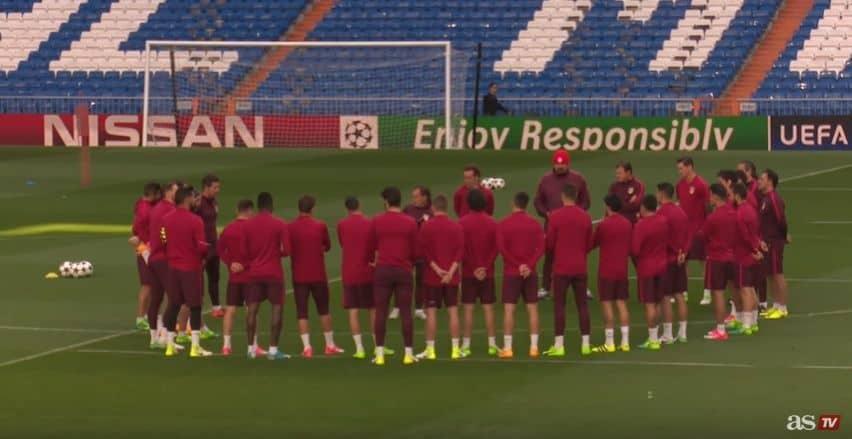 Entrenamiento Atlético-Madrid previo al partido Real Madrid